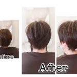 岩手盛岡で大人の軽やか毛流れショートに☆ 毛量が多くてもきれいなショートヘアが楽しめる